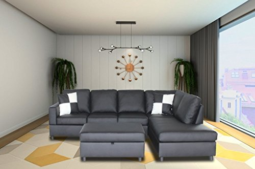 Left 3 Piece Sectional (Legend 3 Piece Faux Leather Left-Facing Sectional Sofa Set with Free Storage Ottoman, Dark Gray)