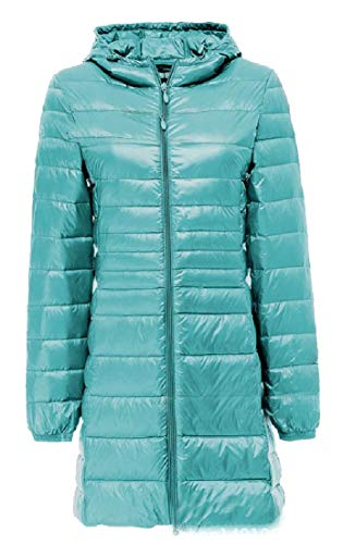 Zipper Blue Anoraks Full Packable Hooded Women's Ultra Jacket Down EKU Lightweight q7tPfyw