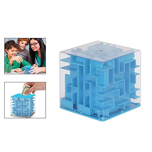 Money Maze Puzzle Box, Unique Gifts for People You Love, Fun Maze Puzzle Games for Kids and Adult Birthday Christmas Halloween New Year Festival Gifts, 2.282.282.28in, Blue ()
