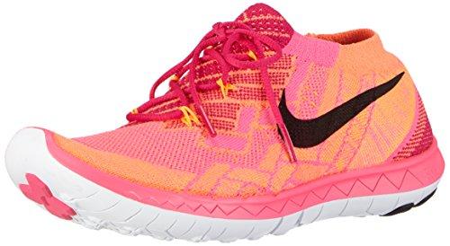 Nike Free 3.0 Flyknit, Damen Laufschuhe, Mehrfarbig (Frbrry/Blck-Pnk Pw-Brght Crmsn 600), 37.5 EU