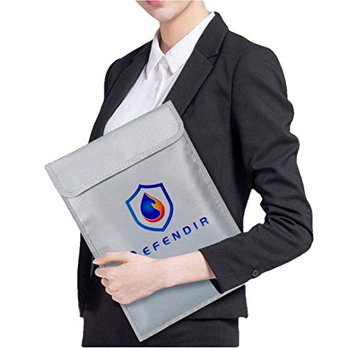 Fireproof Document Bag Envelope (11 x 15) Fire Resistant, Waterproof Protection | Compact, Portable Size | Zipper & Fastened Closures | Store Money, Passports, Certificates