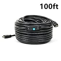 PrimeCables© 100ft HDMI Cable Support 3D HDTV 1080p Ethernet, HDMI 1.4 Cable with High Speed 10.2Gbps, 24K Gold Plated (100ft)