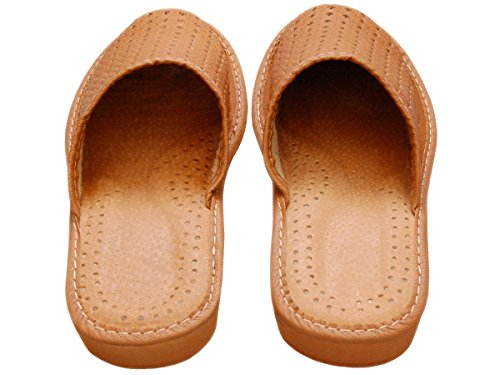 Bawal Women's Natural Genuine Leather Slippers for home, Comfortable Slip-On, UK Size,| Colorful Beige Brown Red | Model XB01 Brown