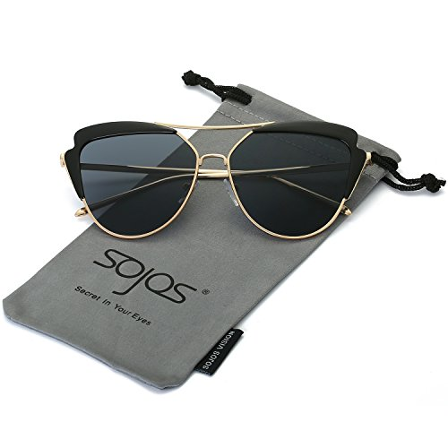 SojoS High Fashion Metal Frame Flash Mirrored Cateye Womens Sunglasses SJ1061 With Gold Frame/Grey Lens