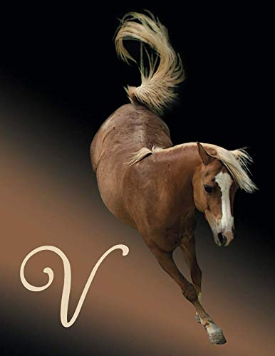 Horse Initial 'V' Monogram Notebook: Custom Blank Lined Journal Personalized for Names Starting with Initial Letter V (Jotter, Notepad, Composition Book)