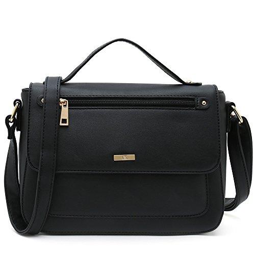 Women's Crossbody Purses Over The Shoulder Bags Small Side Handbags Designer (Black)