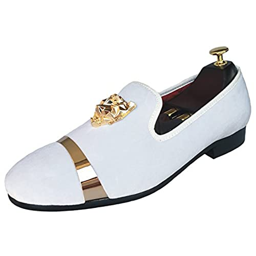 d859c9fb2ae Men s Velvet Loafers Slippers with Gold Buckle Wedding Dress Shoes Slip-on  Smoking Flats with