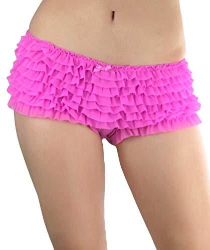 ToBeInStyle Women's Soft Chiffon Ruffle Trim Boyshort Panties - Pink]()