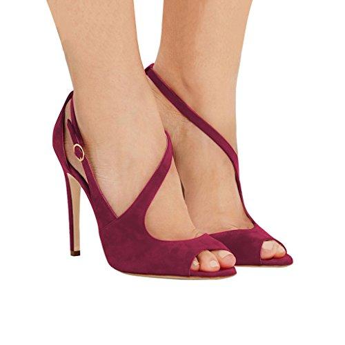 Sandalias Con Hebillas De Las Mujeres Peep Toe De Fsj Hollow Out Tacones Con Hebillas Zapatos De Cóctel Talla 4-15 Vino De Ee. Uu.