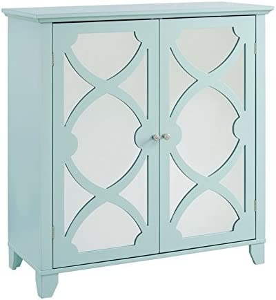 Riverbay Furniture Large Cabinet with Mirror Door in Seafoam