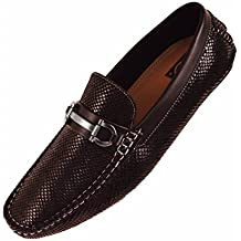 Concrete Mens Driving Shoe Loafer in Black Snake Skin Print w. Silver Ornament : Style Viper-000
