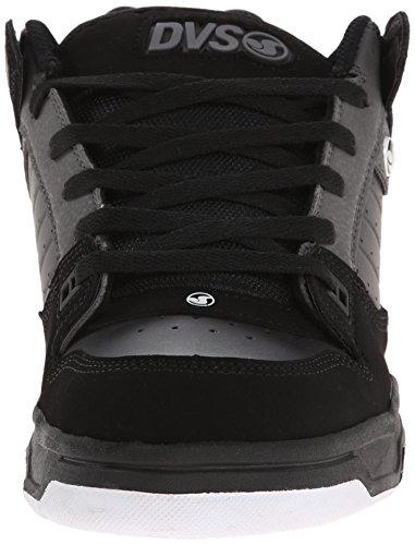 DVS (Elan Polo) Militia Heir - Zapatos de skateboarding de cuero para hombre Negro (Black/Grey Nubuck)
