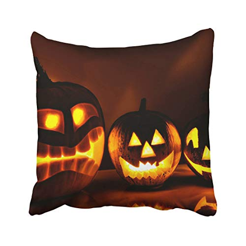 Emvency Orange Carving Halloween Pumpkin Head Jack Lantern with Scary Evil Faces Spooky Holiday Autumn Black Dark Throw Pillow Covers 16x16 Inch Decorative Cover Pillowcase Cases Case Two Side -