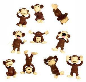 Monkey Figures - 10 Tiny Plastic Monkey Figures - Party Favors -