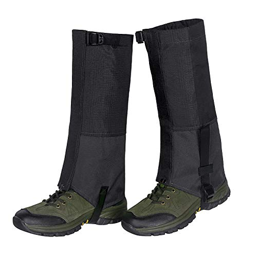 Waterproof Snow Boot Gaiters 600D Anti-Tear Oxford Fabric for Outdoor Hiking Walking Hunting Climbing Mountain (Black, XL-17.3x17.3inch) ()