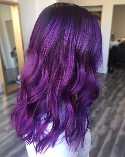Beibingyang Hot Dark Purple Wig Short Wavy Mix Colored Synthetic Hair Lace Front Wigs Natural Looking Large Purple Glueless Lace Wigs For Women 16inch for $<!--$39.99-->