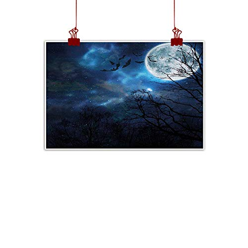 Sunset glow Canvas Wall Art Halloween,Bats Flying in Majestic Night Sky Moon Nebula Mystery Leafless Trees Forest,Blue Black White 28