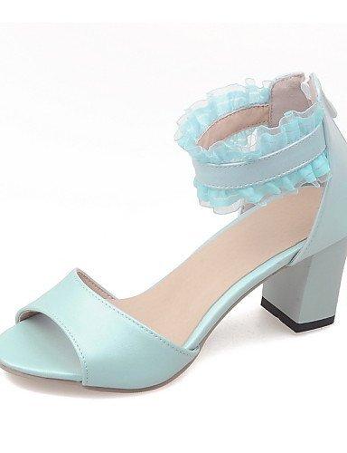 d774b3bd47a59 Blue Sandals Chunky Beige ShangYi Pink Women's Toe Heel Shoes Dress Open  Blue Y871wCqx