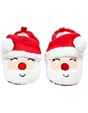 Yilyfd Newborn Santa Claus Soft Sole Christmas Infant Crib Slippers Anti-Slip First Walking for Baby Girls Boys