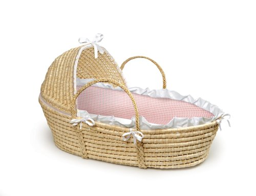 Badger Basket Natural Moses Basket with Hood, Pink Gingham Bedding