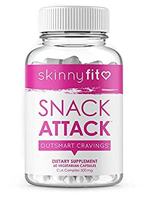 SkinnyFit Snack Attack: Natural Metabolism Booster, Healthy Appetite Suppressant Supplement for Weight Loss with CLA, Garcinia Cambogia and Green Tea Extract, Boost Energy and Curb Cravings