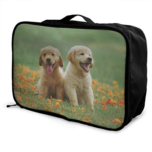 OWZI Foldable Cube Travel Bag Fashion Lightweight Large Capacity Portable Luggage Bag (Two Little Golden-haired Dogs),15