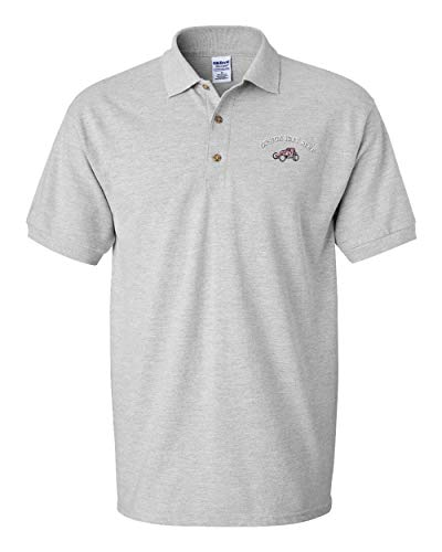 Custom Polo Shirt Sprint Car Sports A Embroidery Design Cotton Golf Shirt for Men Oxford Grey Medium Personalized Text Here