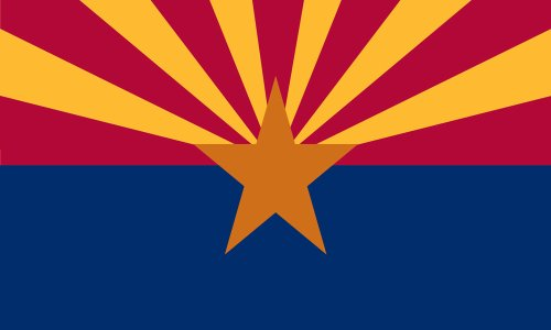 Arizona State Flag - Nylon with Canvas Header and Grommets - 3 x 5 feet
