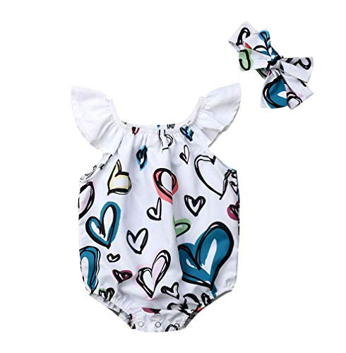 Lzxuan Newborn Infant Baby Girls Romper Colourful Heart Print Flare Sleeve Jumpsuit Playsuit with Bowknot Headband White