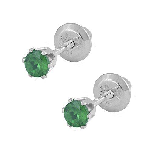Genuine Emerald Flower (14K White Gold Genuine Emerald Girls Stud Earrings - May Birthstone)