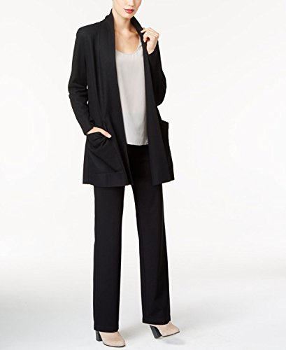 Eileen Fisher Black Boiled Wool Jersey Shawl Collar Jacket (M) ()