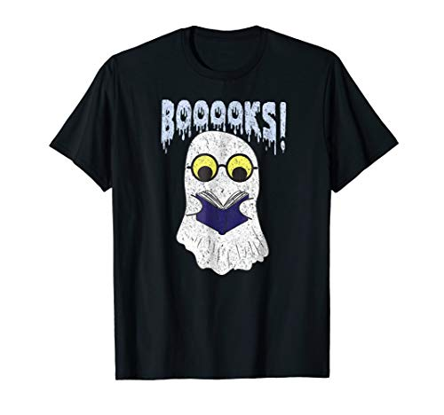 Booooks Ghost Book Reading Halloween Costume T-Shirt Gift -