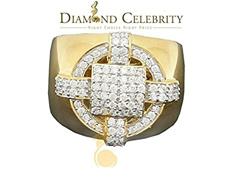 10K Yellow Gold Finish W/ Lab Created Diamond Ice Out Silver Mens Ring Size 9.5 (Ice Jewelry For Men)
