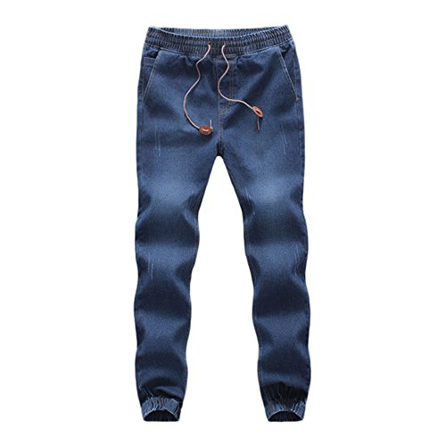 WOCACHI Clearance Sale Mens Denim Jogger Pants Elastic Drawstring Work Trousers Casual Jeans Winter Big Promotion Distressed Skinny Drop Autumn Sports Pants (Dark Blue, Medium)