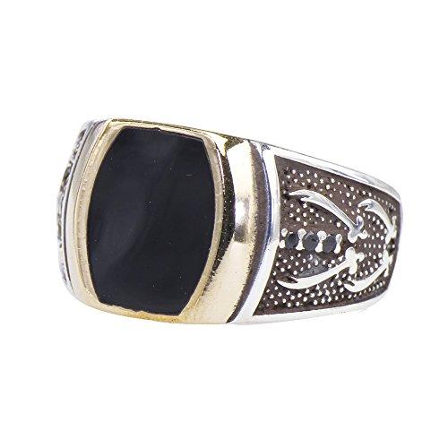 Men's 4 Sword Honor Black Enamel Tablet Statement Ring 925 Silver