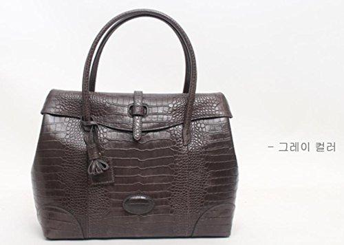 Fashion Crocodile Pattern Leather Shoulder Handbag 4 Color (Grey) by PRISTINE&BB (Image #4)