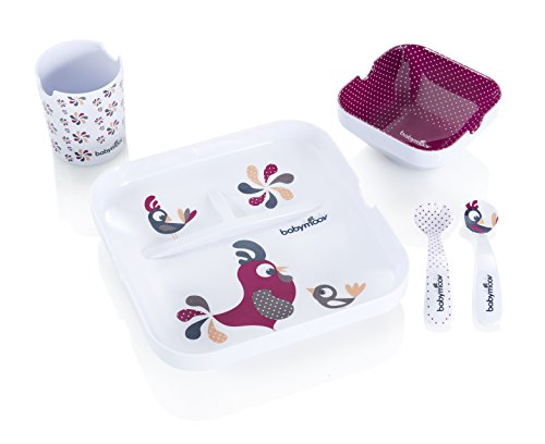 Babymoov Lunch Set - Rooster Family 5pc Kids Melamine Dinnerware Gift Set