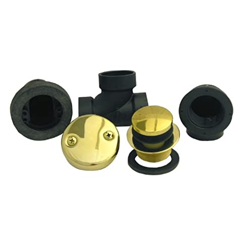LASCO 03-4945 Bathtub Waste and Overflow Parts with ABS Threaded Elbows San Tee and Strainer, Polished (Bathtub Overflow Elbow)