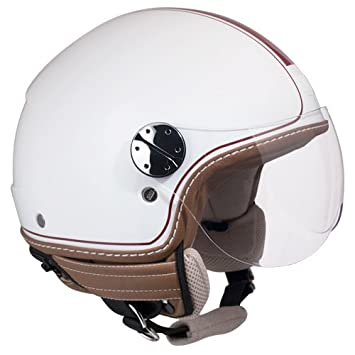 Casco Jet para moto scooter CGM Santa Monica, color blanco metalizado, talla L,