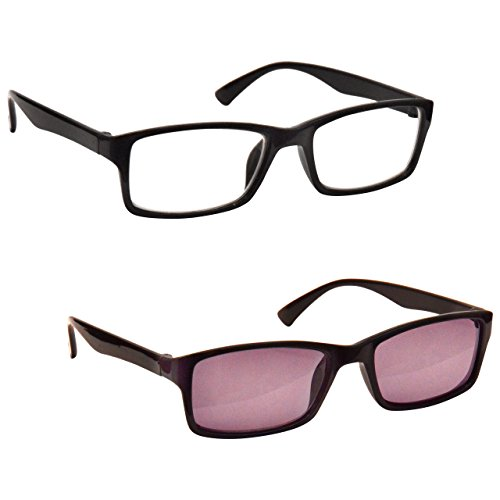 The Reading Glasses Company Black Readers With UV400 Sun Reader Value Twin Pack Designer Style Mens Womens RS92-1 +2.00