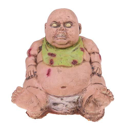 (Prettyia Bloody Zombie Baby Doll Halloween Props - Sharp Teeth & Obesity Body - Sitting Devil Ghost Model Halloween)