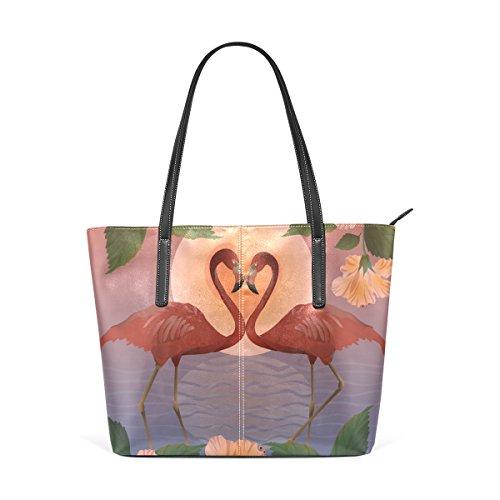 b8b383660ee3c COOSUN Romantic Red Flamingos und der Mond PU Leder Schultertasche  Handtasche und Handtaschen Tasche für Frauen
