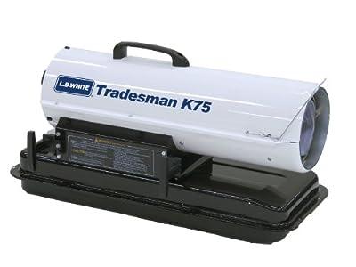 L.B. White CP075BK Tradesman K75 Portable Forced Air Kerosene Heater, 75,000 Btuh