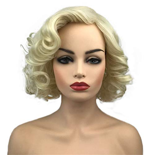 Aimole Women Blonde Wig Short Curly Hair Synthetic Heat Resistant Wig -