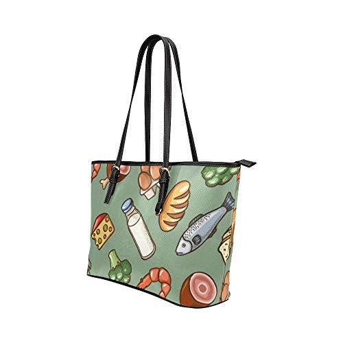 Axelväska camping animering tecknad skaldjur mat räkor läder handväskor väska orsaksala handväskor dragkedja axel organiserare för dam flickor kvinnor crossbody axelväska väskor