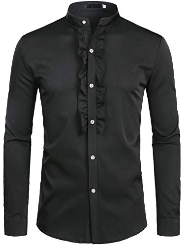 - ZEROYAA Mens Hipster Ruffle Mandarin Collar Slim Fit Long Sleeve Casual Button Down Dress Shirts Tops Z69 Black Medium