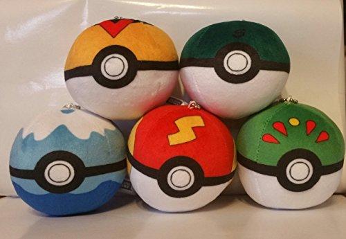 Pokemon Pokeball Poke Ball 3 Inch Toddler Stuffed Plush Kids Toys 5 Pcs Set