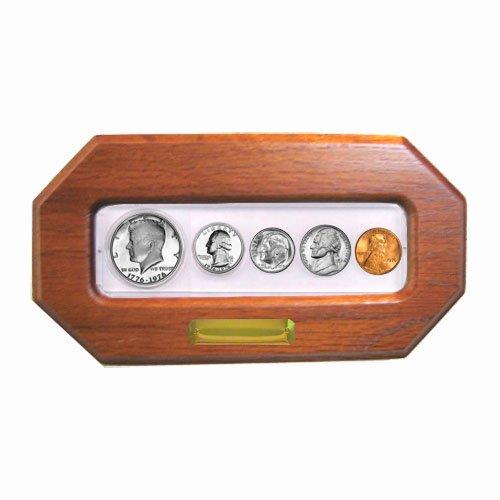 2000-5-coin-year-set-in-custom-oak-frame-brilliant-uncirculated