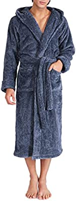 David Archy Men/'s Hooded Fleece Plush Soft Velveteen Robe Bathrobe Size S XL