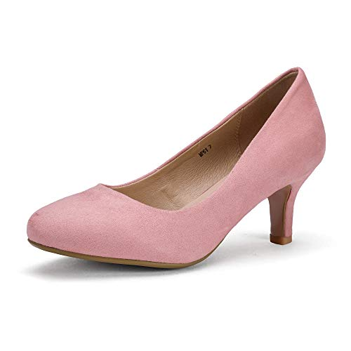(IDIFU Women's RO2 Basic Round Toe Mid Heel Pump Shoes (Pink Suede, 7.5 B(M) US))